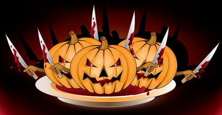 hunted: halloween pumpkins with  knives