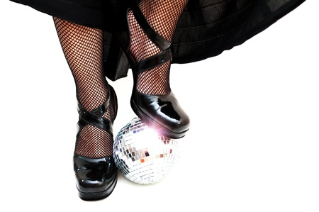 fishnet: dancers legs with disco ball