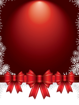 holiday background with bows and snowflakes