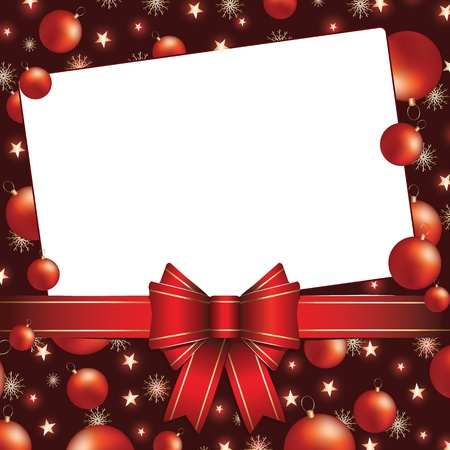 christmas background with bow ,baubles and snowflakes