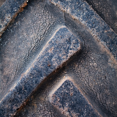 Closeup texture of dirty tractor tyres photo