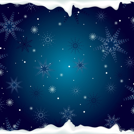 christmas background with snowflakes and ice