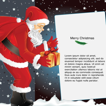 Christmas card with Santa holding gift