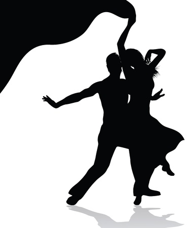 salsa dance: Dancing couple vector silhouette  isolated on white background Illustration