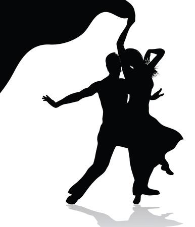 bailarines de salsa: Pareja de baile silueta vector aislados sobre fondo blanco