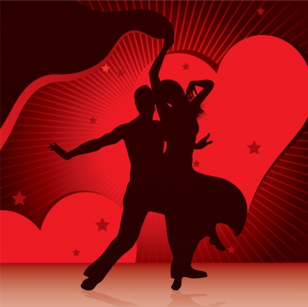salsa dancing: dancing couples with background of hearts Illustration
