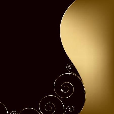 dorato: sfondo elegante con turbinii decorativi