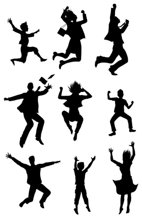 woman jump: Jumping  silhouettes with happiness expression Illustration