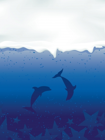 Underwater with dolphins and stars