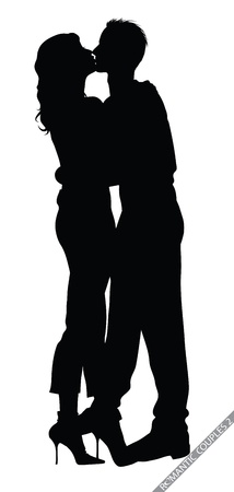 romantic couple silhouettes Stock Vector - 11925890