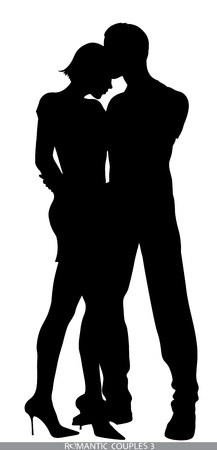 romantic couple silhouettes Vector