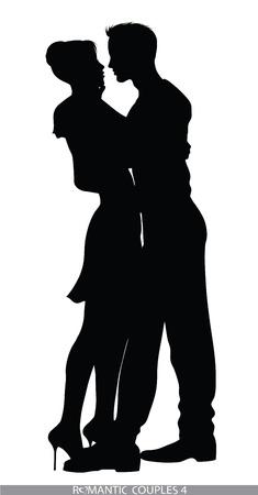romantic couple silhouettes Vector