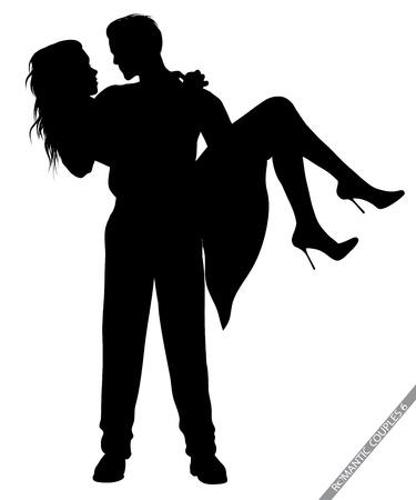 romantische paar silhouetten