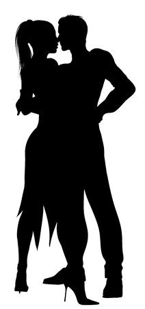 bailarines silueta: silueta de la pareja que baila con pasión