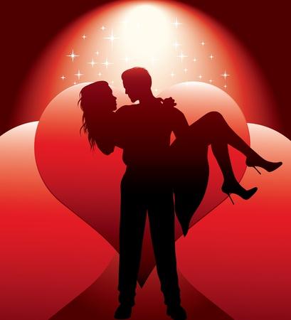 embracing couple: pareja de la silueta con el coraz�n