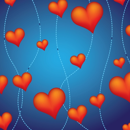 background of decorative red hearts  Vector