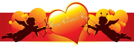 Cupid silhouettes with hearts for valentines day Vector