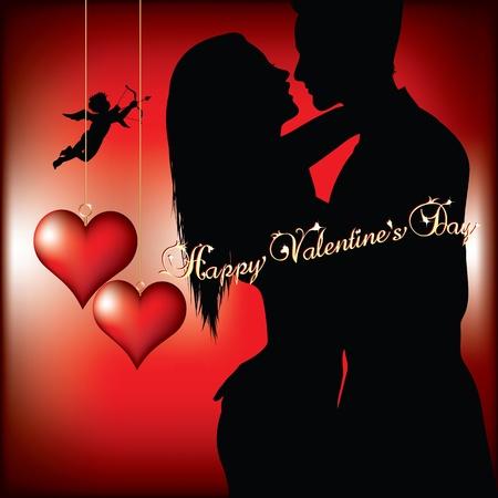 innamorati che si baciano: buon San Valentino Vettoriali