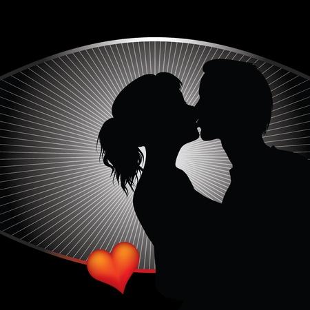 baiser amoureux: silhouette couple romantique
