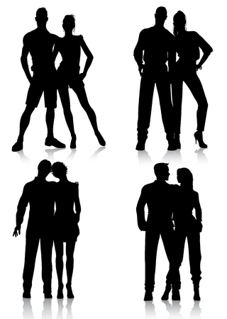 fashion couple silhouettes Vector