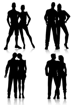 fashion couple silhouettes