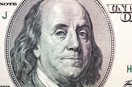 benjamin franklin: Benjamin Franklin face on one hundred dollar bill