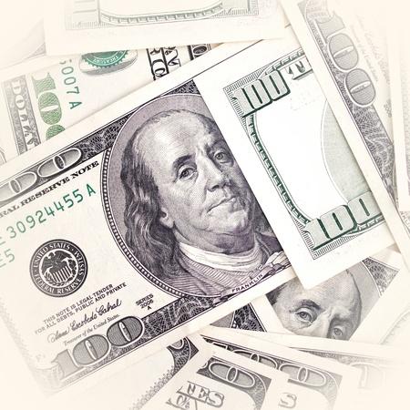one dollar bill: one hundred dollar bills background