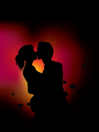 couple silhouette over heart light vector illustration Banco de Imagens