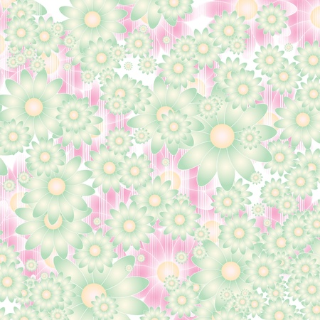 retro circles: floral background in soft colors  Illustration