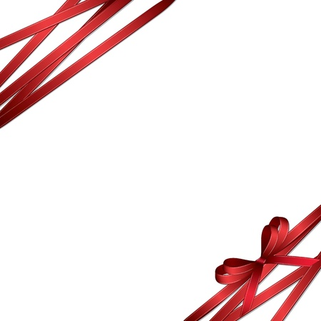 red ribbon bow: Red bow isolated on white background