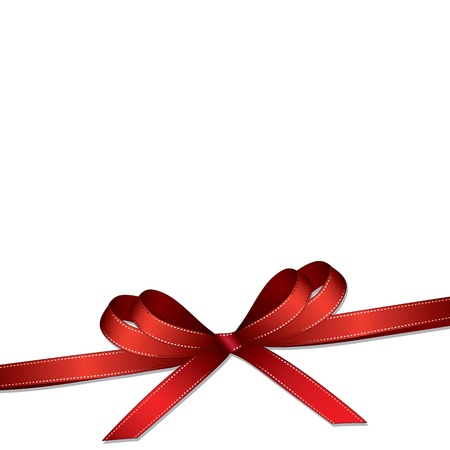 ribbon red: Red ribbon and bow isolated on white background