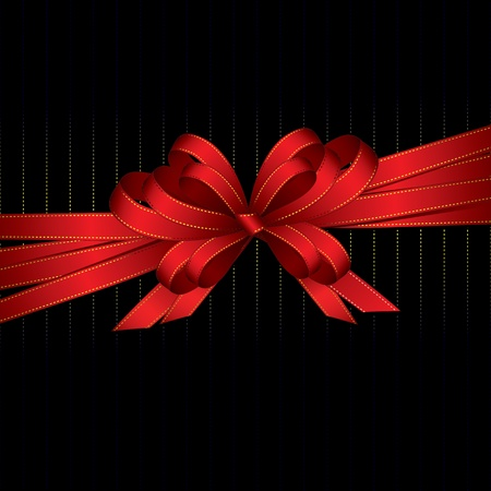 red gift ribbon and bow with copy space