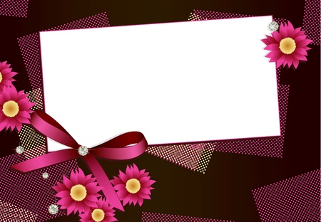 Gift card with flowers, diamonds and ribbon  Vector