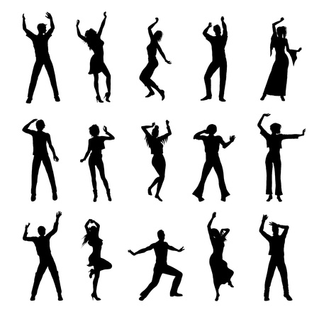 dancing people silhouettes isolated on white background Vettoriali