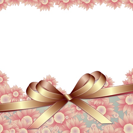 Floral background with ribbon  Vector