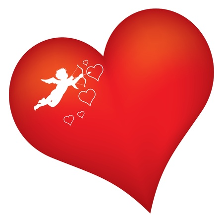 red heart with cupid silhouette  Vectores