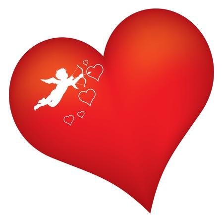 amor: rotes Herz mit Amor-Schattenbild Illustration