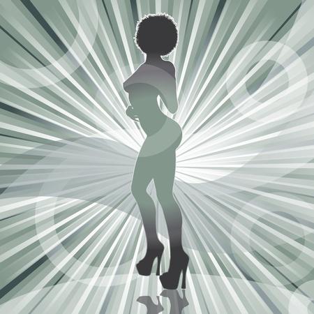 fesses black: sexy silhouette de femme afro avec une illustration rayons vecteur de fond