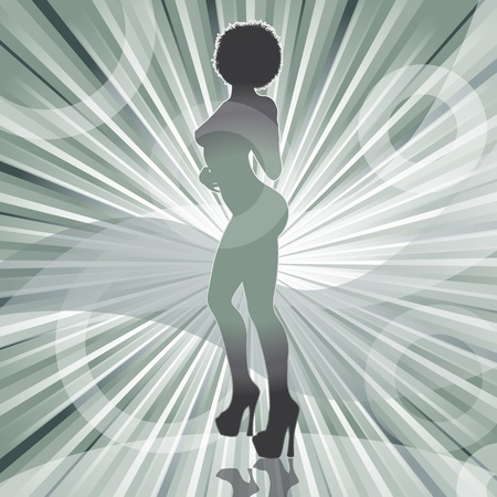 sexy afro woman silhouette with ray background vector illustration Vettoriali