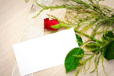 greeting card with red rose photo