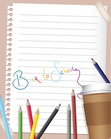coloured pencils: back to school background with coloured pencils and coffee mug Illustration