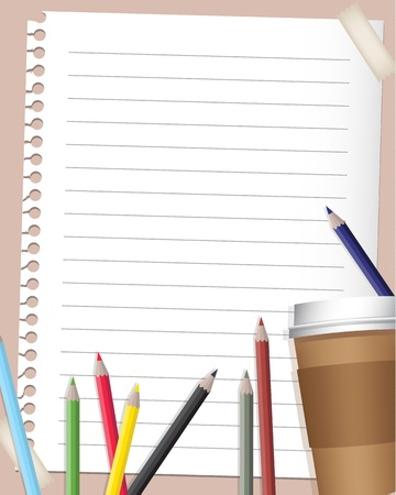 back to school background with coloured pencils and coffee mug Vector