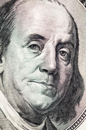benjamin franklin: Benjamin Franklin face on one hundred dollar bill