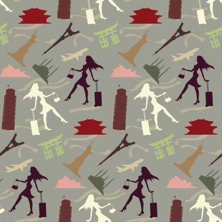 sydney: travel girl seamless pattern in vintage colors  Illustration