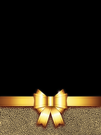 golden bow background with copy space