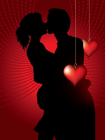 lovers kissing: silhouette of couple  with decorative hearts