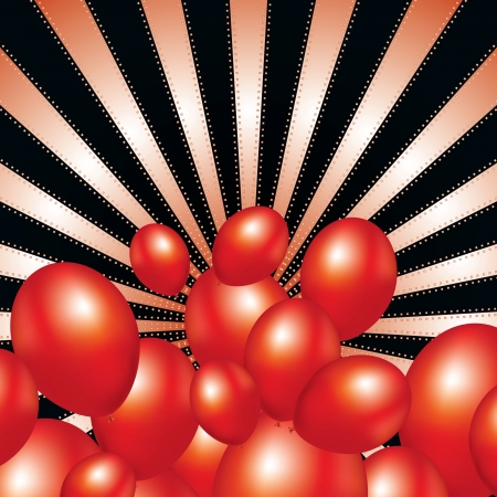 ray background with festive balloons vector illustration Stock Vector - 16464797