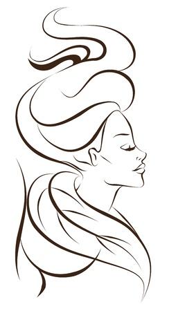 stilist: güzel kadın simgesi Çizim