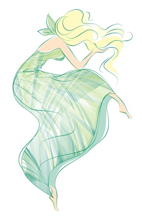 line drawings: drawing of a girl in green dress illustration