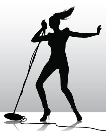 s�ngerin: Silhouette einer S�ngerin Illustration